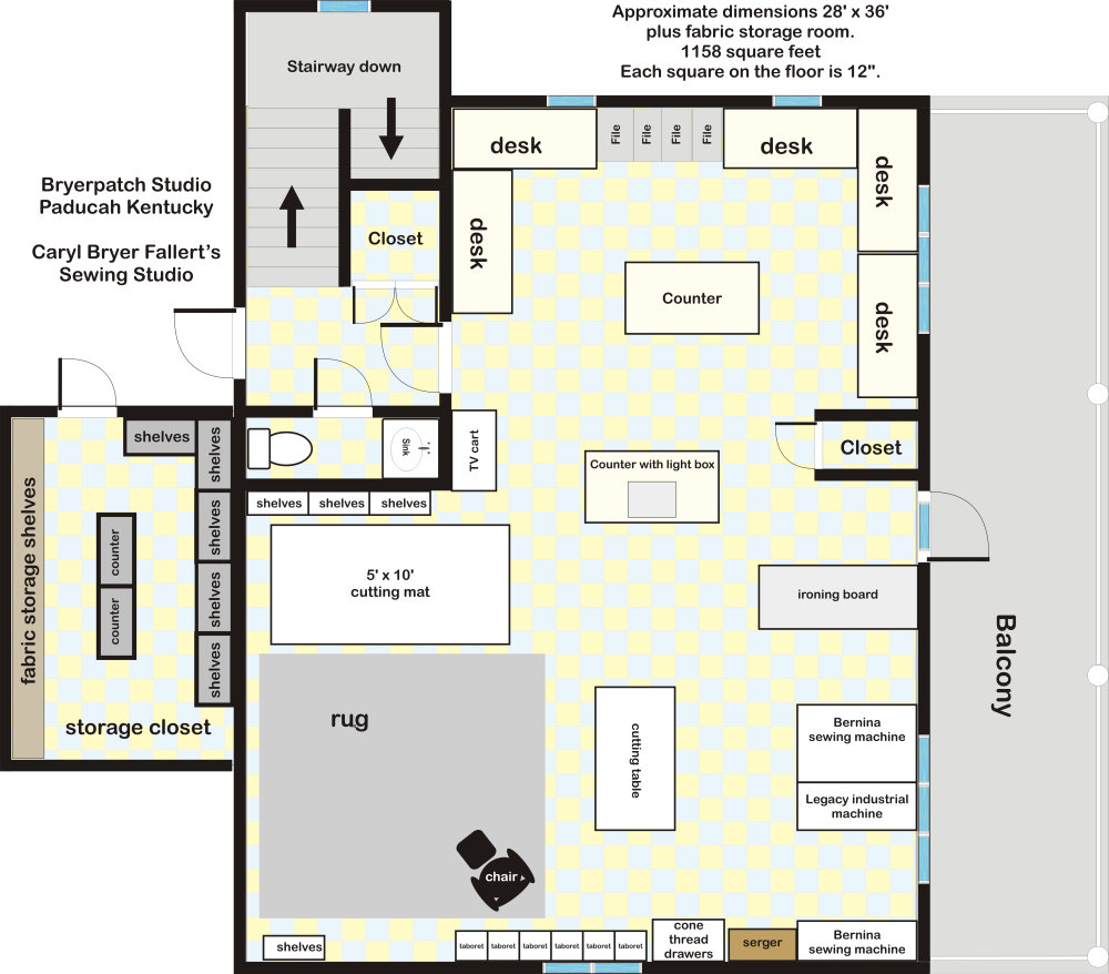 Tour of caryl bryer fallert 39 s private sewing and design studio for Sewing room floor plans